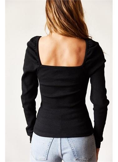 XHAN Omuzları Büzgülü Bluz 9Kxk2-43160-02 Siyah